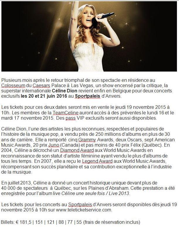 Concert 00 Céline Dion 20 et 21 juin 2016 Anvers b