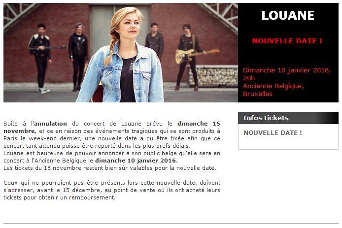 Concert 01 Louane reporté